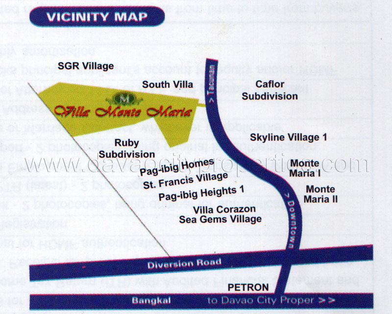This is the vicinity map of Villa Monte Maria, a new low cost housing in Davao City, Philippines