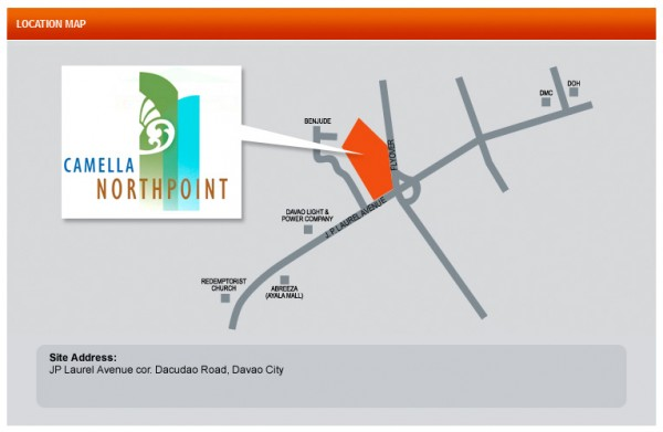 Location map of Camella Northpoint, a Davao condominium right at the heart of the city's business area.