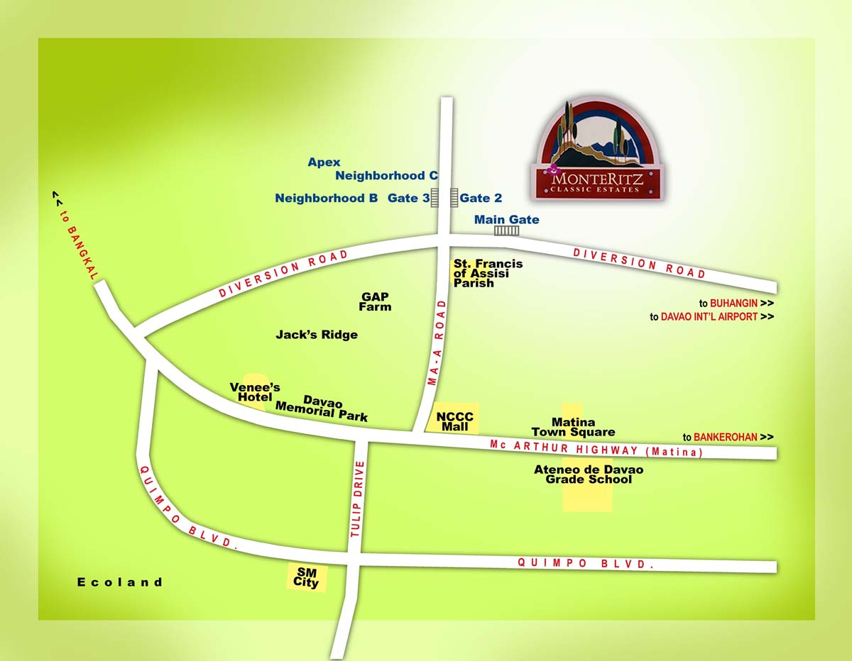 Monteritz Classic Estate | Vicinity Map | Davao high-end subdivision