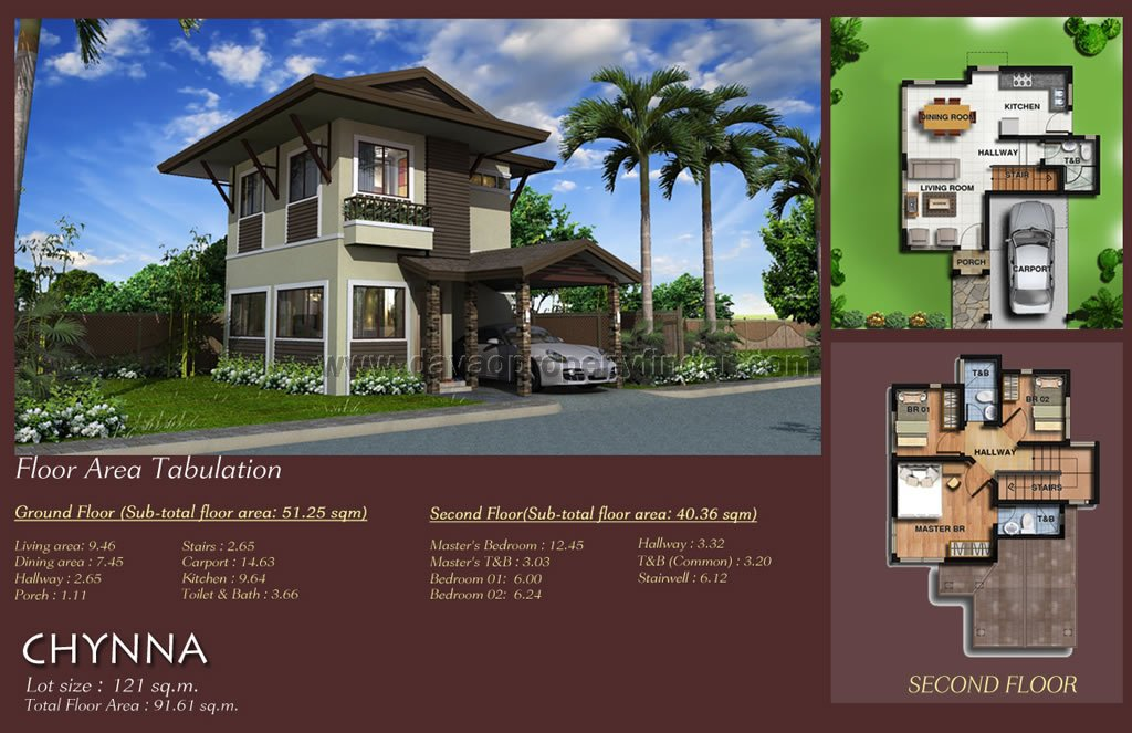House and lot package Chynna is a 2 storey house at Twin Palms Residences Davao. This house model has 3 bedrooms and 3 toilets and baths. This be financed through Pag-ibig, in-house, or bank.