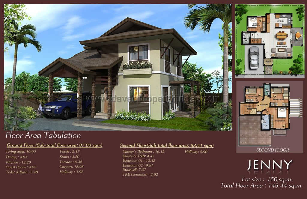 This is Twin Palm Davao's house model Jenny. This house and lot package has 4 bedrooms and 3 toilets and baths. Avail this through Pag-ibig, in-house, or bank financing.