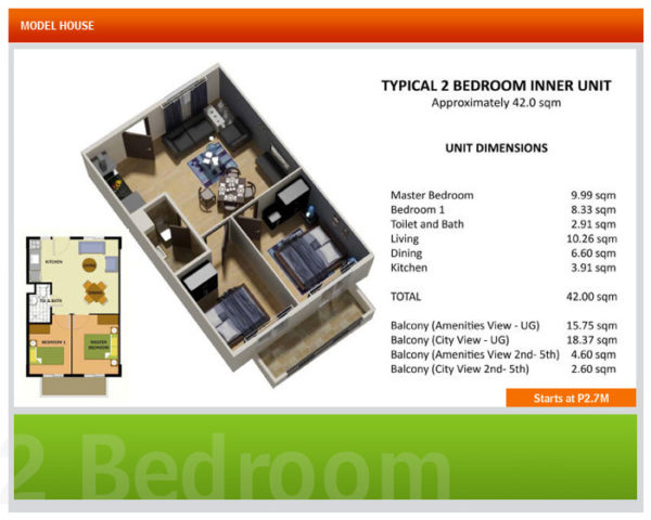 This is the typical 2 bedroom unit in Davao condos.