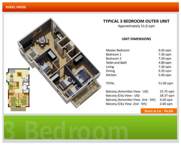 This is the typical 3 bedroom unit in Davao condos.
