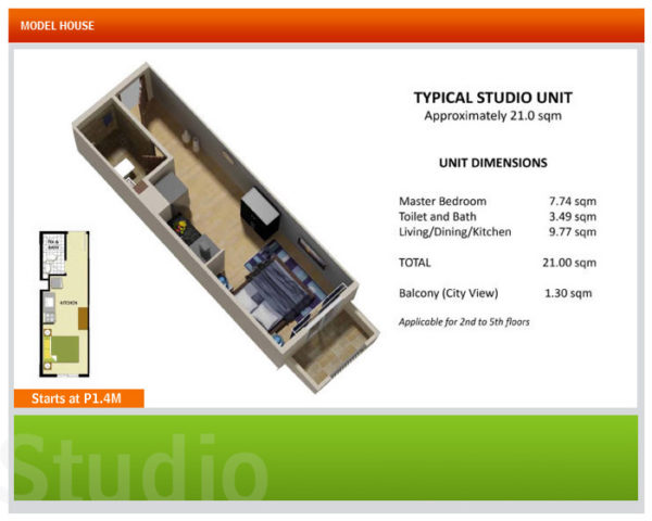 This is the typical studio type unit in Davao condos.