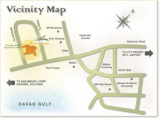 vicinity map of villa de mercedes