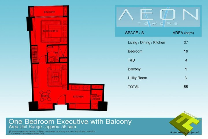 One bedroom executive condo unit with balcony at Aeon Towers Davao