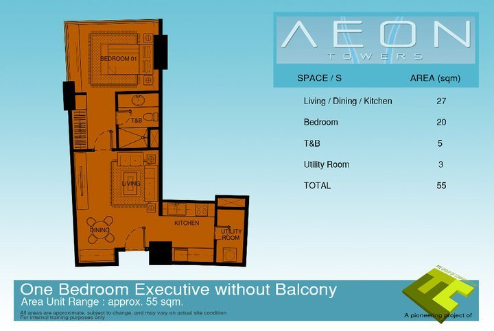 One bedroom executive condo unit that has no balcony ar Aeon Towers Davao City