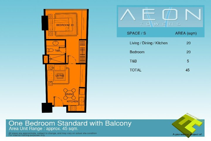 Standard one bedroom condo unit that has a balcony at Aeon Towers, a condominium project in Davao City