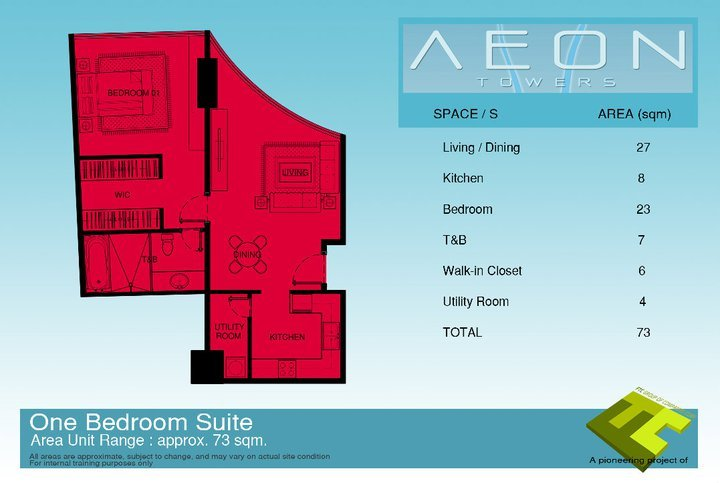 Affordable One bedroom suite at Aeon Towers, a high rise condotel in Davao City