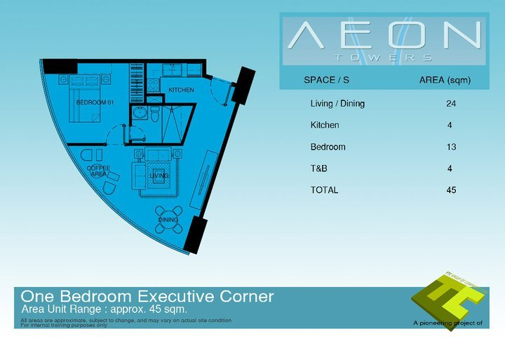 One bedroom executive corner condo unit at Aeon Towers