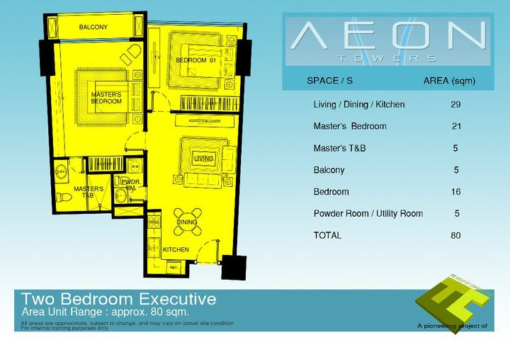 Executive 2 bedroom unit at Aeon Towers Davao City.
