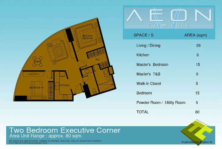 Two bedroom condo unit at Aeon Towers in Davao City. This is an executive corner unit.