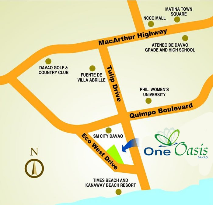 Location of One Oasis Davao